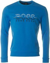 BOSS Athleisure - Salbo Big Logo Crew Neck Sweat - Lyst