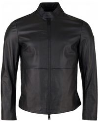 Armani - Leather Biker Jacket - Lyst