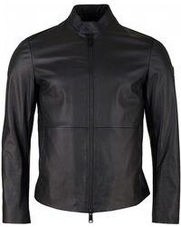 Armani Leather Biker Jacket - Black
