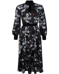 26e6c85178c5d Ted Baker Deony Floral-print Buckle-detail Dress in Black - Lyst