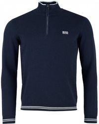 BOSS - Athleisure Zimex Quarter Zip Cotton Knit - Lyst
