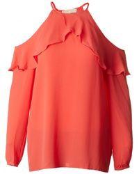 Michael Kors - Ruffle Cold Shoulder Top - Lyst