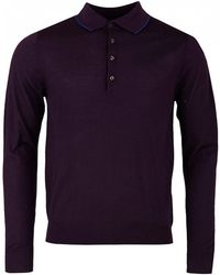 Paul Smith - Merino Long Sleeved Knit Polo - Lyst
