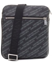 Armani Jeans - All Over Logo Leather Stash Bag - Lyst