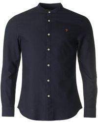 Farah - Brewer Grandad Collar Slim Oxford Shirt - Lyst