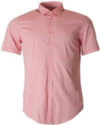 BOSS Black - Short Sleeved Slim Fit Checked Shirt - Lyst