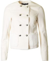 Armani - Double Breasted Shearling Jacket - Lyst