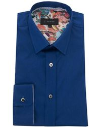 1 Like No Other - Contrast Detail Cotton Stretch Shirt - Lyst