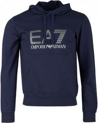 EA7 - Train Logo Series Pullover Hooded Sweat - Lyst