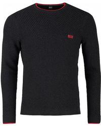 BOSS Athleisure - Ridney Textured Crew Neck Cotton Knit - Lyst