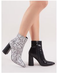 Public Desire - Hyper Two-tone Pointed Toe Ankle Boots In Black And White Snake - Lyst