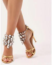 Public Desire - Valentine Cluster Embellished Stilettos In Gold - Lyst