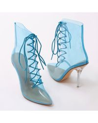 Public Desire - Hawt Perspex Lace Up Ankle Boots In Blue - Lyst