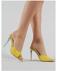 d0cd1f5cb0c Public Desire - Siren Perspex Heel Mules In Yellow - Lyst