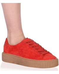 Public Desire - Yinka Creepers In Orange Faux Suede And Gum Sole - Lyst