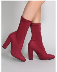 Public Desire - Montreal Sock Fit Ankle Boots In Burgundy Faux Suede - Lyst