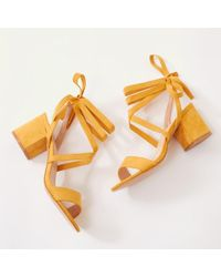 Public Desire - Sophie Heeled Sandals In Yellow Faux Suede - Lyst