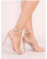 e5adbfe67a6 Public Desire - Notion Squared Toe Barely There Heels In Nude Patent - Lyst