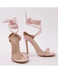 Public Desire - Rudie Lace Up Heels In Pink Mock Croc - Lyst