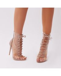 19fa8346837a Public Desire Amelia Perspex Detail Sock Fit Boots In Nude in Blue ...