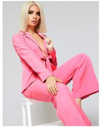 Public Desire - Pink Tie Front Blazer And Wide Leg Trouser Suit - Lyst