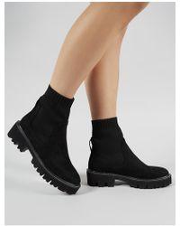 019807963ca Public Desire - Escape Sock Fit Ankle Boots In Black Knit - Lyst