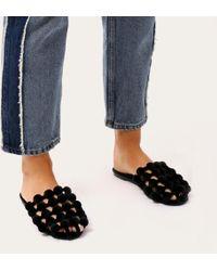 Public Desire - Pearla Pom Pom Backless Loafers In Black Velvet - Lyst