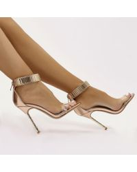 Public Desire - Leo Twisted Stiletto Chain Strap Heels In Rose Gold - Lyst