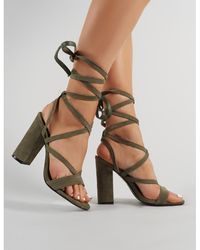 0d2f7eb602a Lyst - Public Desire Jade Stiletto Heels In Khaki Faux Suede in Natural