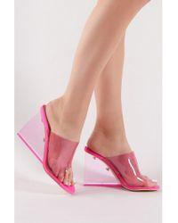 Public Desire - Maliboo Perspex Wedge In Neon Pink - Lyst