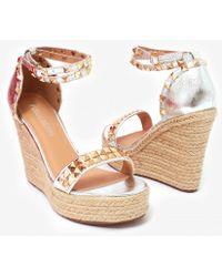 Public Desire - Baja Espadrille Wedge Sandal In Silver - Lyst