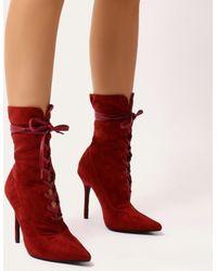 Public Desire - Sass Lace Up Ankle Boots In Bordeaux Faux Suede - Lyst