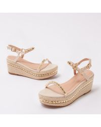 Public Desire - Bahama Studded Espadrille Sandals In Nude - Lyst