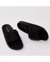 Public Desire - Bounce Black Diamante Sliders In Black - Lyst