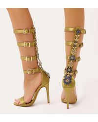 Public Desire - Jazz Knee High Strappy Embellished Heels In Lime Satin - Lyst
