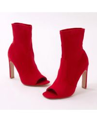 Public Desire - Craze Sock Fit Ankle Boots In Red Faux Suede - Lyst