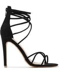 d0bb588a97cc Public Desire - Sense Spaghetti Strap Stiletto High Heels In Black Faux  Suede - Lyst
