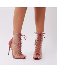 Public Desire - Giga Perspex Lace Up Ankle Boots In Blush Pink Patent - Lyst