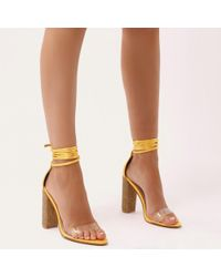 Public Desire - Fatale Diamante Perspex Lace Up Heels In Gold Yellow Satin - Lyst