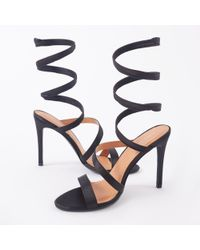 530212203db5 Public Desire - Fire Sculpted Wrap Around Stiletto High Heels In Black  Satin - Lyst