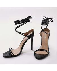 Public Desire - Rudie Lace Up Heels In Black Mock Croc - Lyst