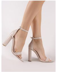 14a8e2cff86 Lyst - Public Desire Grier Block Heel Barely Theres In Nude Faux Suede