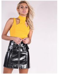 c0766d48c8 New Look Black Contrast Stitch Belted Mini Skirt in Black - Lyst