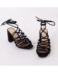 Public Desire - Bianca Strappy Block Heels In Black Faux Suede - Lyst