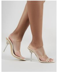 a01517626514 Lyst - Missguided Nude Block Perspex Sandal Heels in Natural