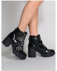 Public Desire - Aloud Lace Up Ankle Boots In Black Patent - Lyst