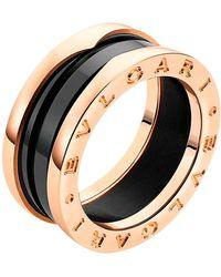 BVLGARI - Bzero1 18ct Pink-gold and Ceramic Ring - Lyst