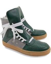 84ca8355a35 Kris Van Assche - Green Leather Overlong Laces High top Sneakers - Lyst