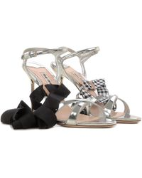 6e73ce338ab Lyst - Miu Miu Metallic Leather Strappy Sandals in Metallic