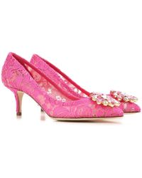 Dolce & Gabbana - Slipper In Taormina Lace With Crystals - Lyst